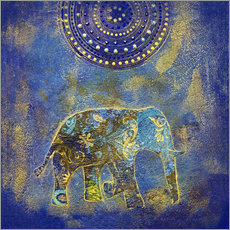 Wall sticker Blue Elephant