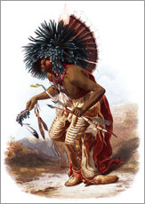 Wall sticker  Indians with blue feathered headdress - Karl Bodmer
