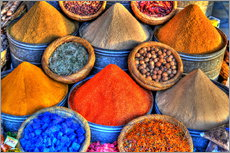 Gallery print  Colorful oriental spices on the bazaar in Marrakech - HADYPHOTO