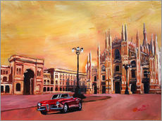 Wall Sticker  Milan Cathedral with Oldtimer Convertible Alfa Romeo - M. Bleichner