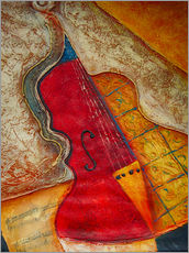 Gallery print  Violin violin music abstract painting orange structure - Michael artefacti