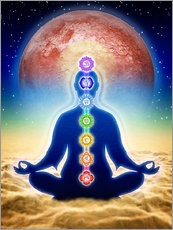 Wall Stickers In Meditation With Chakras - Red Moon Edition