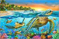Gallery print  Underwater turtles - Adrian Chesterman