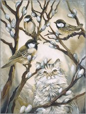 Wall sticker  Cat and birds - Jody Bergsma