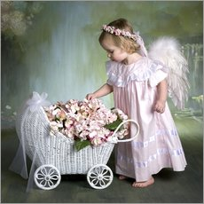Wall sticker Angel with flower basket