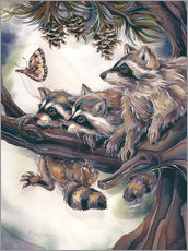 Wall sticker  Raccoons and butterfly - Jody Bergsma