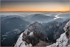 Wall sticker  Sunrise from Zugspitze mountain with view across the alps - Andreas Wonisch
