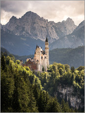Gallery print  Neuschwanstein Castle in front of the Alps - Andreas Wonisch