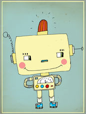 Wall sticker  Robbie robot in love - Little Miss Arty