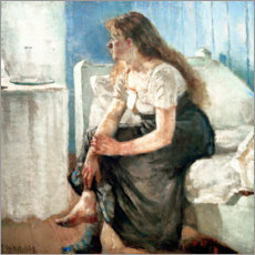 Wood print  Girl on the bed - Edvard Munch