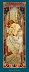 Wood print  Times of the Day - Night's Rest - Alfons Mucha