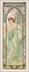 Wood print  Evening Contemplation, times of the day series - Alfons Mucha