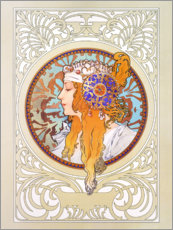 Gallery Print  Medallion with a blond woman - Alfons Mucha
