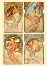 Wall Stickers   The four arts, collage - Alfons Mucha