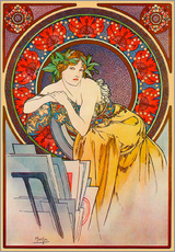 Alfons Mucha - Woman with drawings