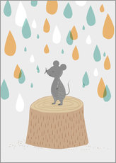 Wall sticker  Mouse in the colorful rain - Sandy Lohß