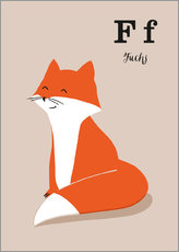 Wall sticker  The animal alphabet - F like fox - Sandy Lohß