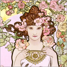 Wall sticker  The Rose (detail) - Alfons Mucha