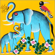 Wall sticker  Elephants in the care - Rubuni