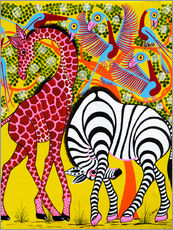 Wall sticker Zebra with Giraffe in the bush