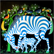 Wall sticker Blue Zebras at night