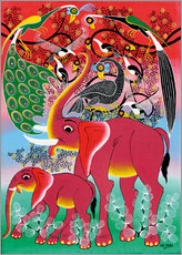 Wall sticker  Red Elephant with peacock - Noel