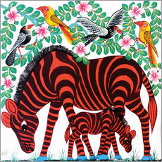 Wall Stickers  Red Zebras - Mrope