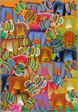 Wall sticker  Colorful hippo herd - Lewis