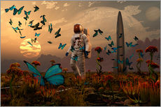A astronaut is greeted by a swarm of butterflies on an alien world.