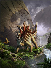 A Stegosaurus is surprised by an Allosarous while feeding in a lush gorge.