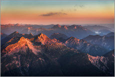 Alps Panorama from Zugspitze at Sunrise
