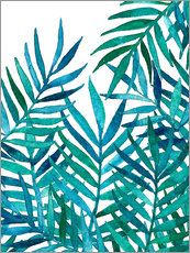 Watercolor Palm Leaves on White