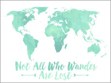 Watercolor World Map Mint