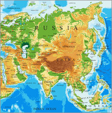 Asien - Topographic Map