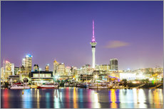 Auckland harbour and skyline at night, New Zealand