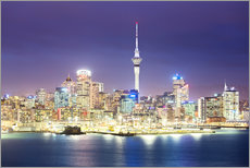 Auckland city center skyline at night, New Zealand