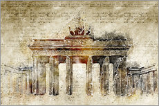 Berlin Brandenburg Gate in modern abstract vintage look