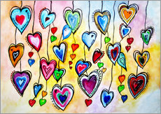 Vibrant Colorful Hearts Painting Abstract
