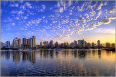 Blue sky at sunrise over the skyline of Vancouver