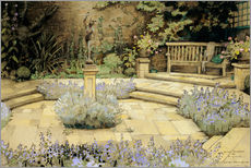 View of a paved garden with beds of lavender
