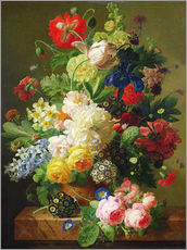 Flowers in a vase on a marble console table