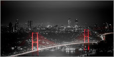 Bosporus-Bridge at night - color key red (Istanbul / Turkey)