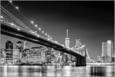 Brooklyn Bridge with Manhattan Skyline (monochrome)