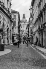 Budapest - view in an alley on the church tower, black and white