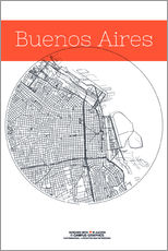 Buenos Aires map city black and white