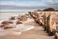 Groyne and stones on shore of the Baltic Sea
