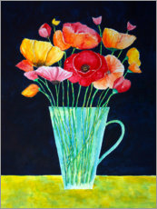 Colorful flowers vase of poppies painting