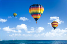 Colorful hot air balloons on the blue sea