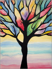 Colorful tree painted abstract