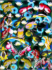Colorful frogs and bustle